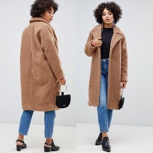 Missguided Bear Longline Borg Brown Fuzzy Coat